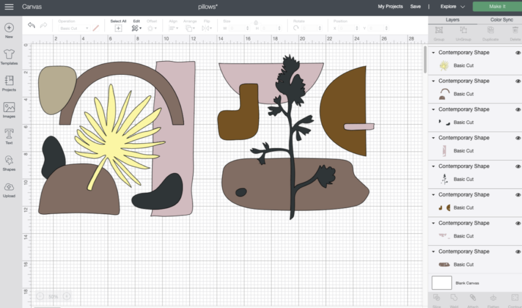 Screenshot of Cricut contemporary design shapes found in Design Space