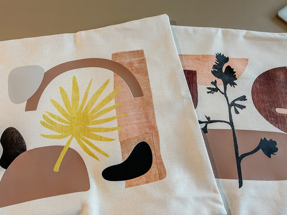 A close up of the organic modern pillow sham designs made with Cricut infusible ink
