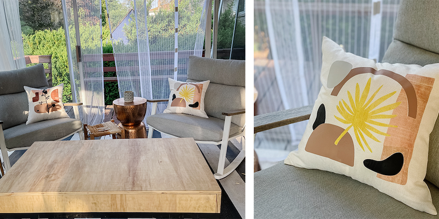 A close up of the patio scene and organic modern pillows created using Cricut infusible ink sheets