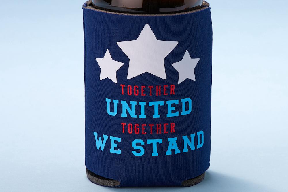 """""""Together united together we stand"""" patriotic beer koozie"""