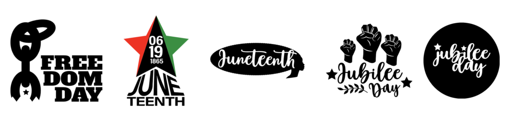 Additional Juneteenth graphics are displayed in a row