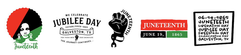A set of Juneteenth images speaking to the holiday, black power, and words of inspiration