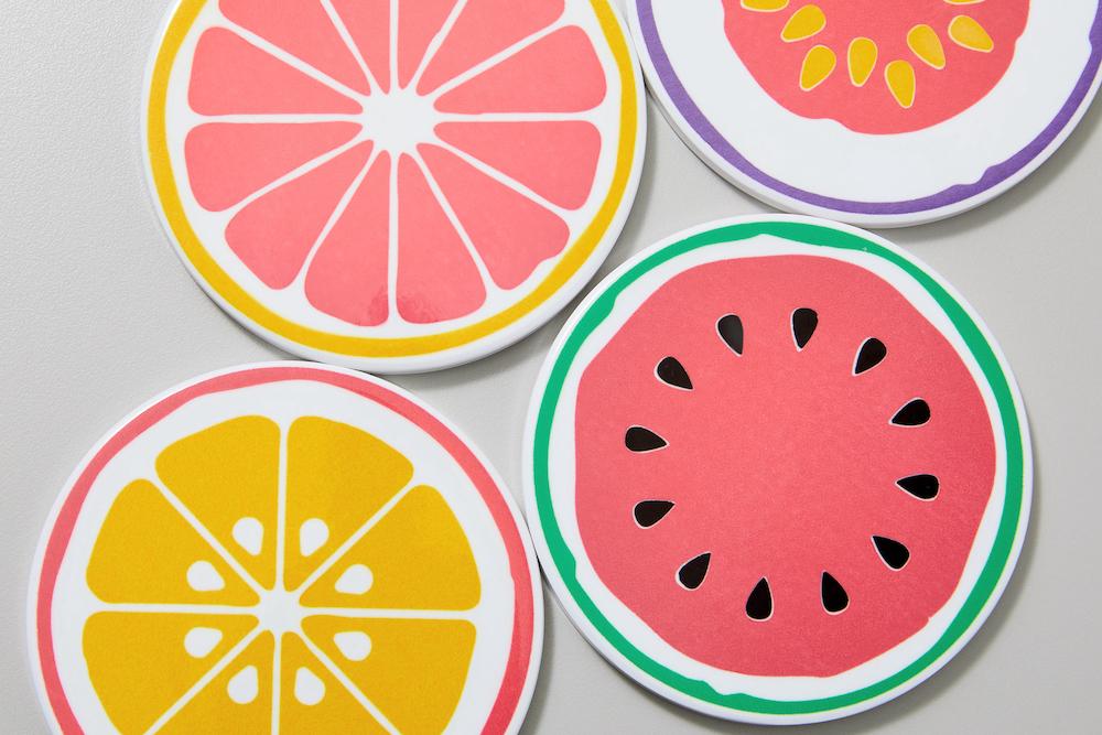 Fruit slice drink coasters