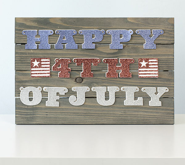Happy 4th of July decorative wooden sign