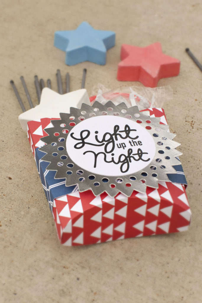 Sparklers in a festive Fourth of July box