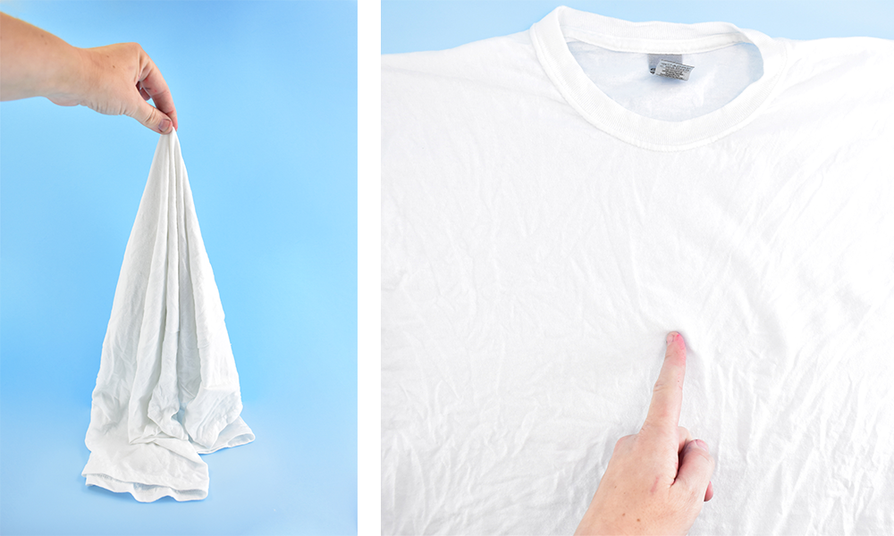 A white t-shirt is prepped for tie-dye