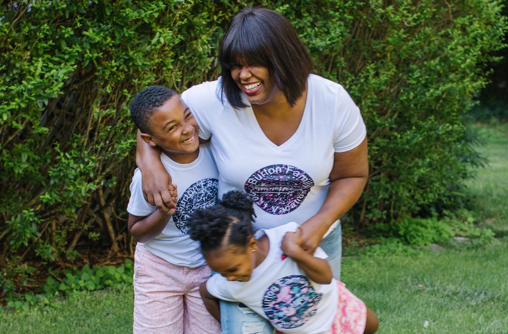 A family creates a cute summer outfit with custom Cricut-made t-shirts