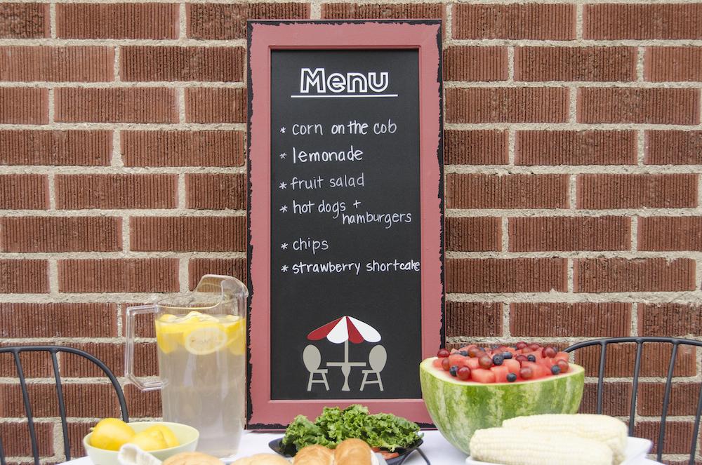 Chalkboard menu in outdoor dining area