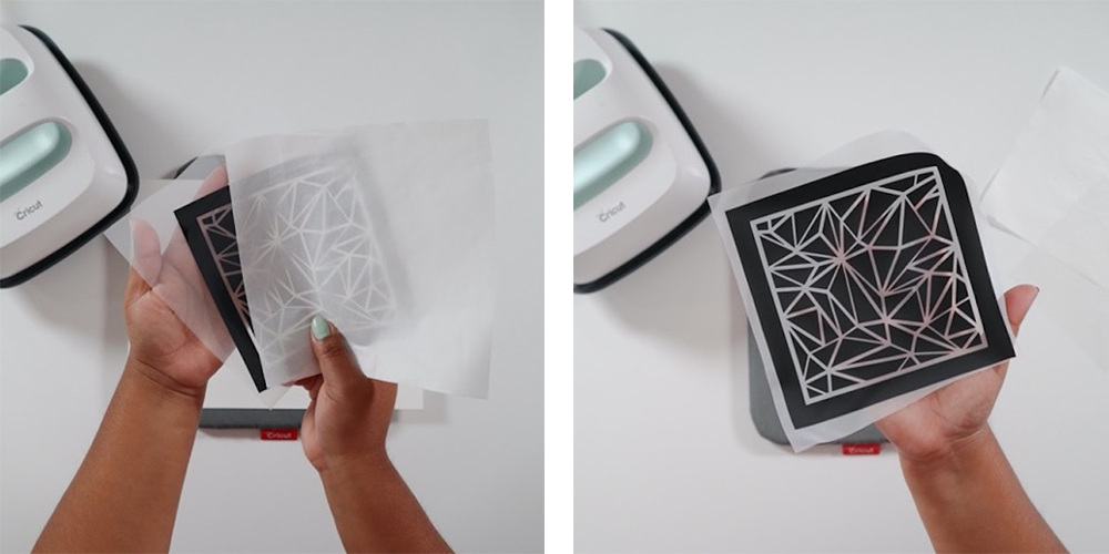 A piece of vinyl is adhered onto fabric to create a stencil for polymer clay earrings