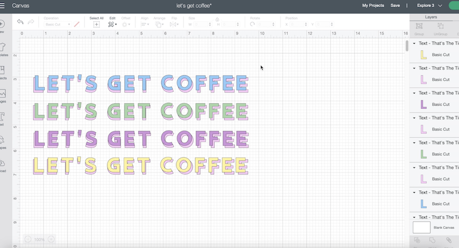"""A screenshot of Cricut Design Space shows the phrase """"Let's get coffee"""" in pastel colors"""
