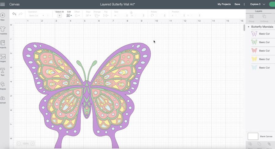 A screenshot of Cricut Design Space shows a butterfly design in pastel colors