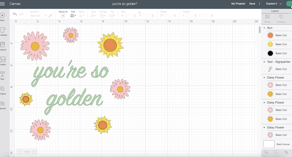"""A screenshot of Cricut Design Space shows a design reading """"you're so golden"""" in pastel colors"""