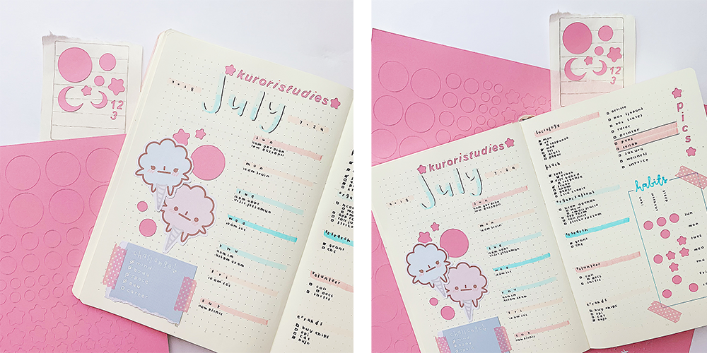 Bullet journaling is shown in 2 photos, showcasing the beautiful pastel journal entries created using Cricut