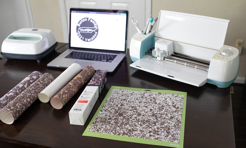 A custom t-shirt is designed in Cricut Design Space to create a cute summer outfit