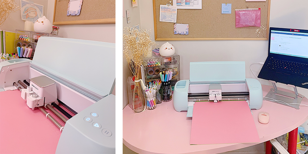 A Cricut machine cuts pink adhesive card stock to create stickers for bullet journaling