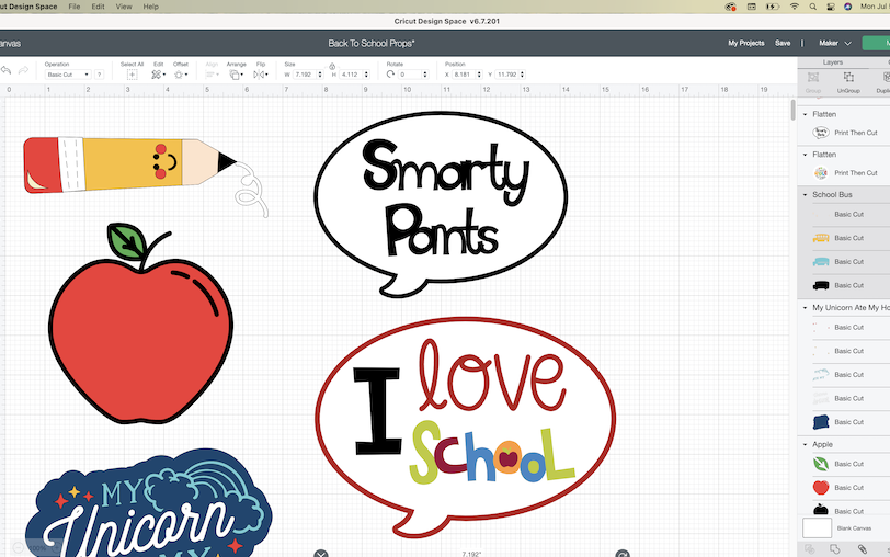 A screenshot of the Cricut Design Space software shows finalized designs for a back-to-school photoshoot prop