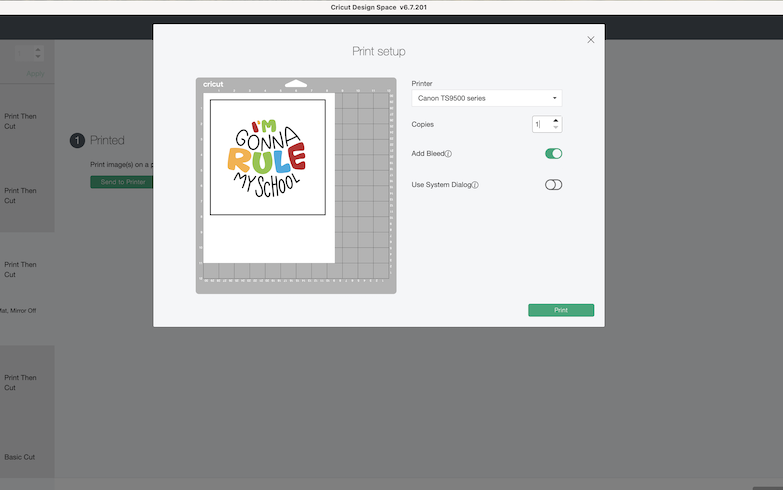 A screenshot of the Design Space software shows the layout of a print then cut back-to-school photoshoot prop