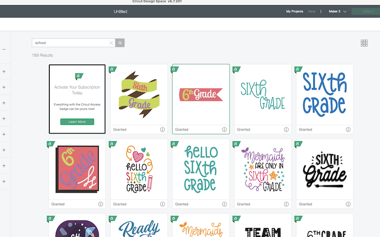 A computer screen shows a screenshot of the Design Space software used by Cricut to create back-to-school photoshoot props
