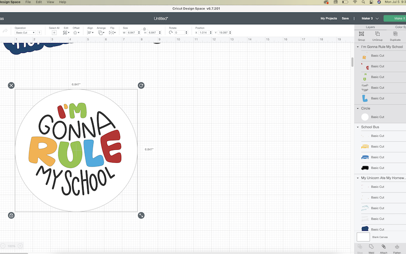 A screenshot of the Cricut Design Space software shows a word bubble being designed for a back-to-school photoshoot prop