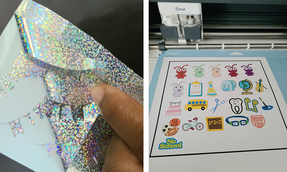 Peelable holographic vinyl and Cricut crafted stickers are prepared for a back-to-school bulletin board