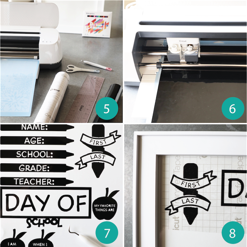 A second sequence of images showcases the step-by-step process to creating a back-to-school photo shoot white board prop