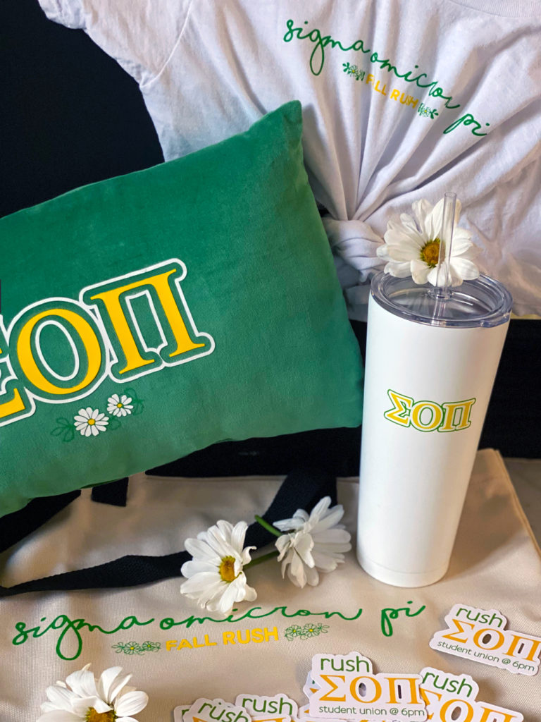 t-shirt, throw pillow, tumbler, tote, and stickers customized with Sigma Omicron Pi greek letters
