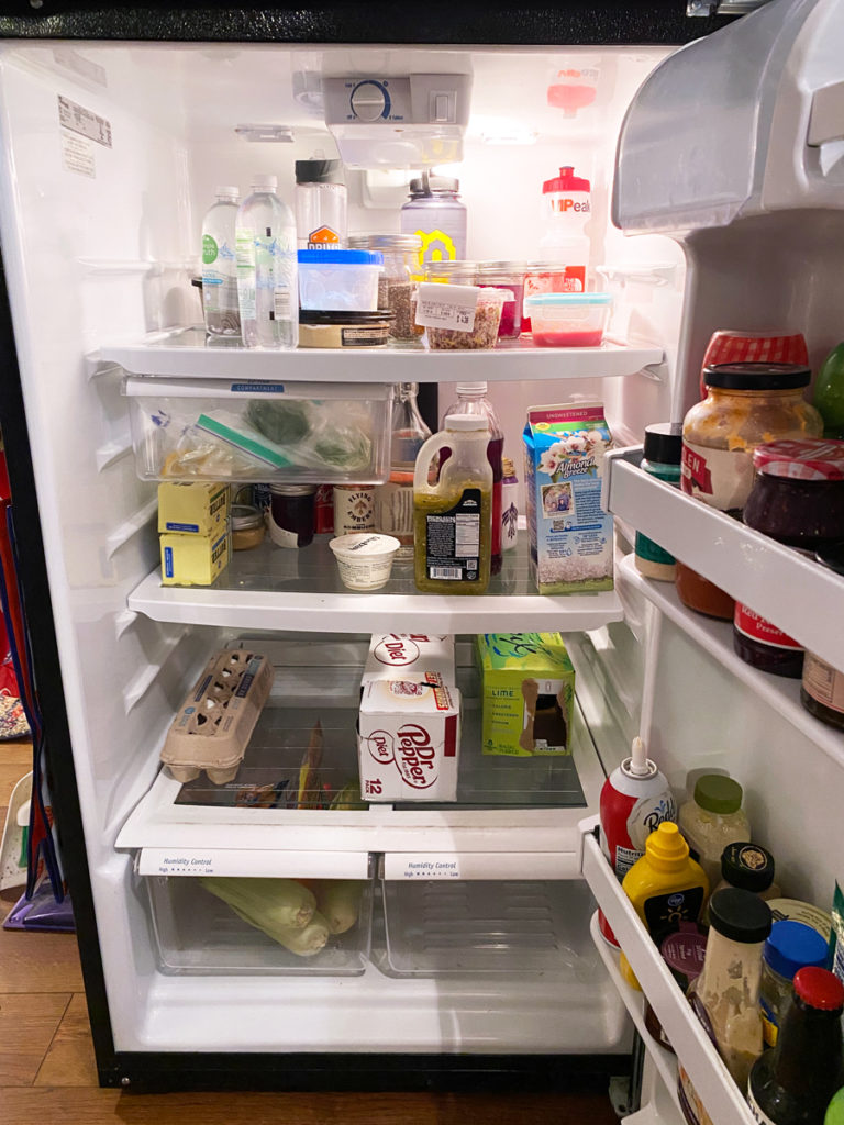 unorganized fridge