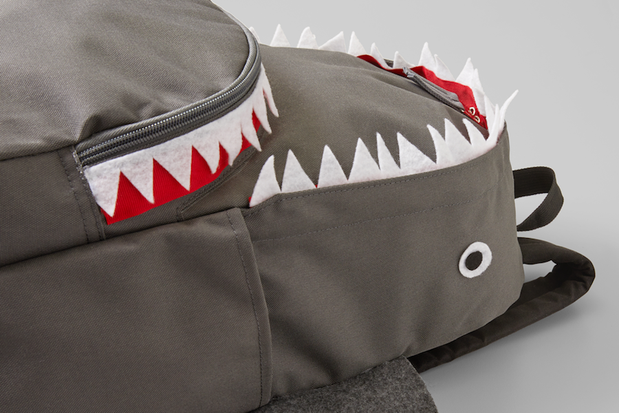 A shark backpack is created to carry back-to-school supplies