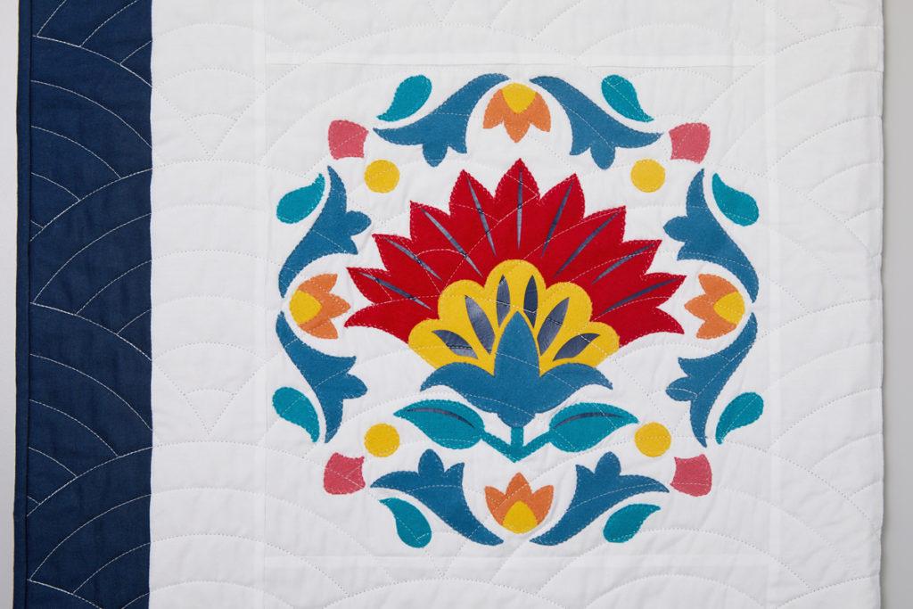 lotus flower on floral quilt block