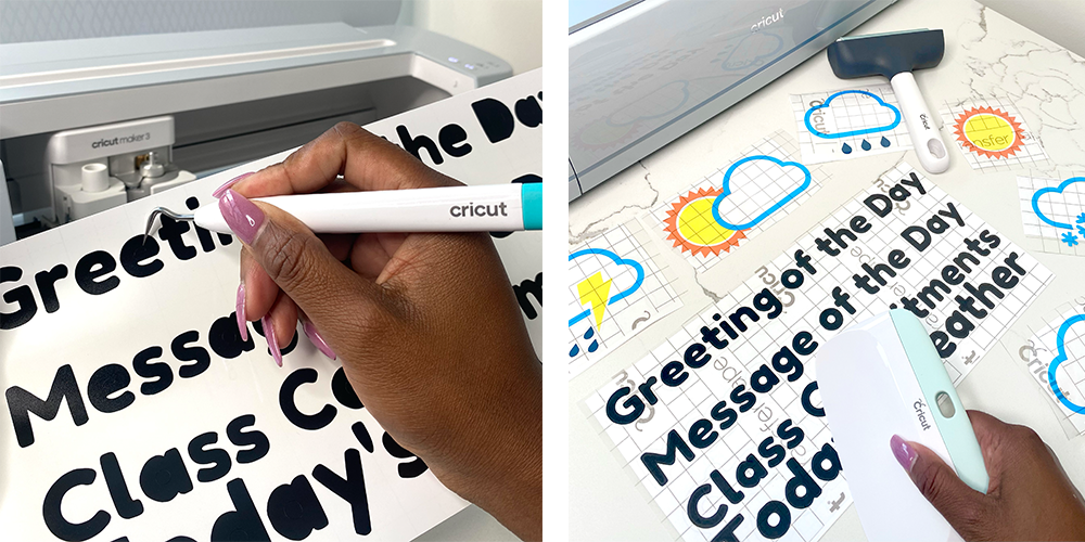 A woman weeds and applies vinyl on a couple of learning boards created for group learning and the back-to-school season