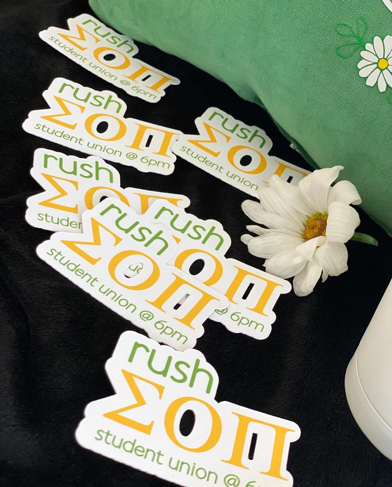 Rush SOPi stickers on black background