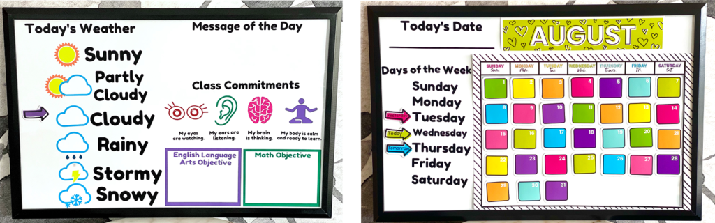Two learning boards featuring back-to-school activities and sections sit side by side on a table