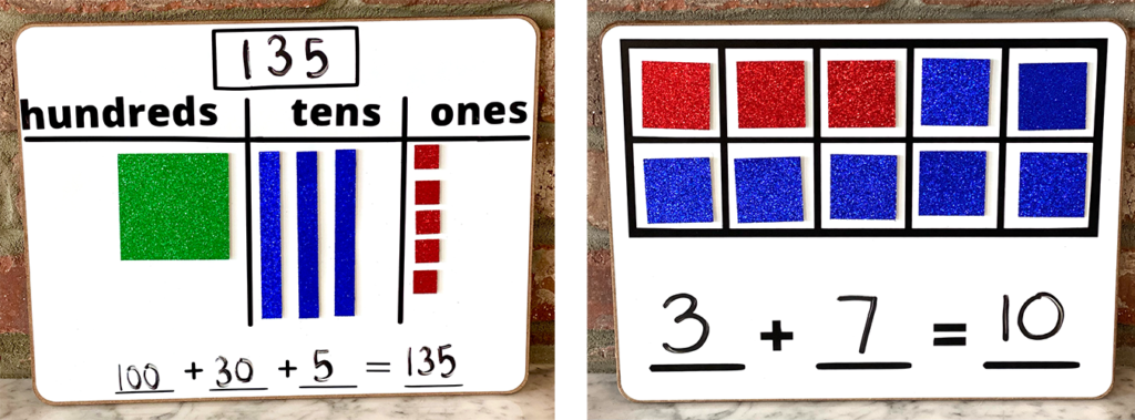 Two math learning boards for back-to-school season feature addition activities