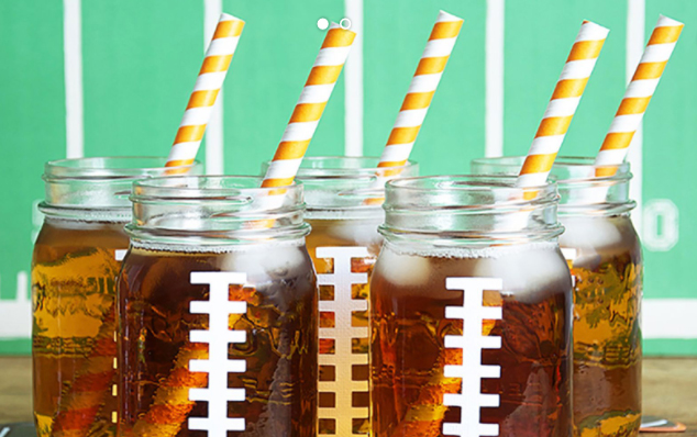 mason jars customized to look like footballs