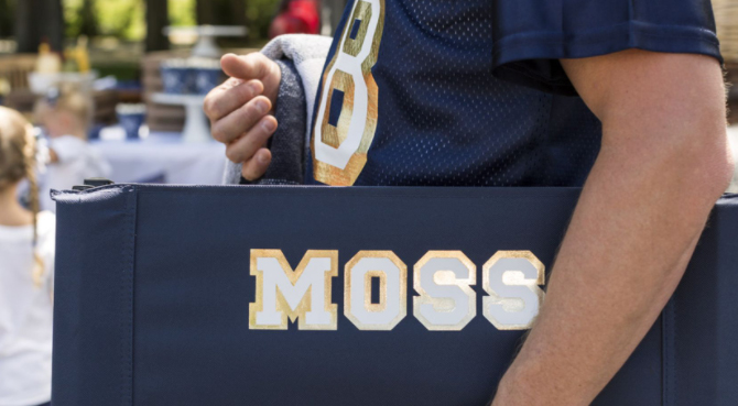 """bleacher seat customized with the name """"Moss"""""""