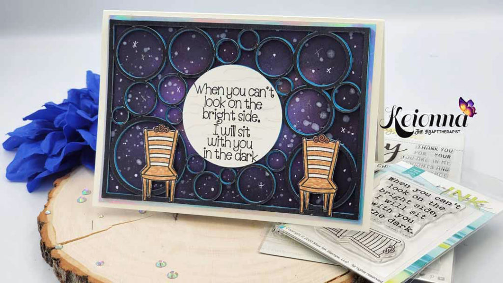 """Mental health greeting card that says """"When you can't look on the bright side, I will sit with you in the dark"""""""