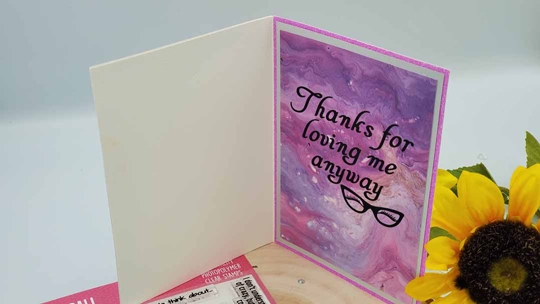 """Mental health greeting card that says """"Thanks for loving me anyway"""""""