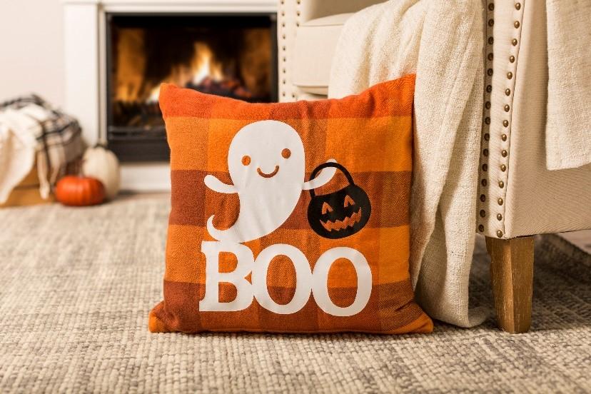 orange plaid halloween pillow