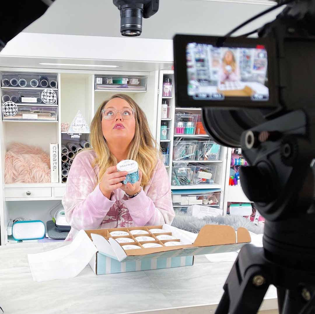 Holli Mostella filming in her craft room