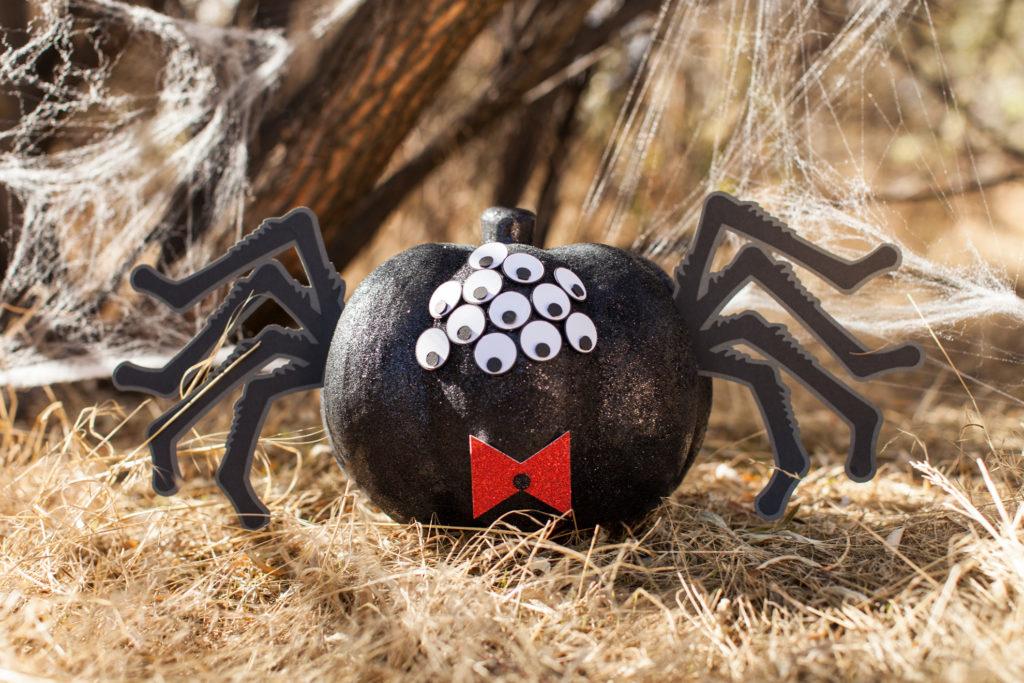 Black pumpkin decorated as tarantula
