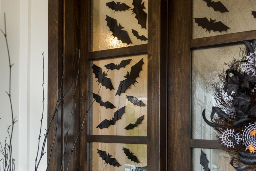 bat decals in door window
