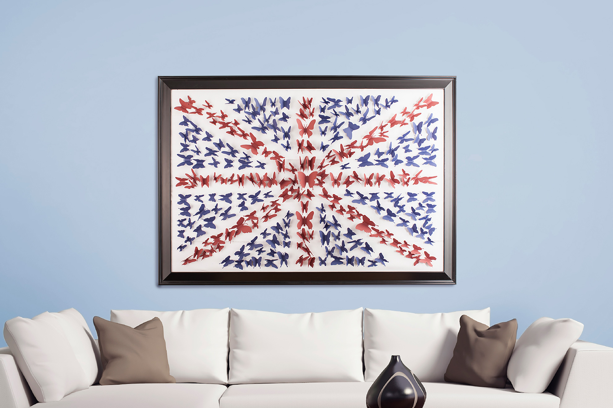 British flag wall art made out of paper butterflies