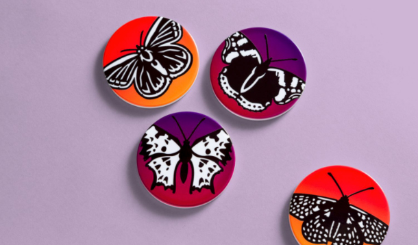 coasters with butterfly designs