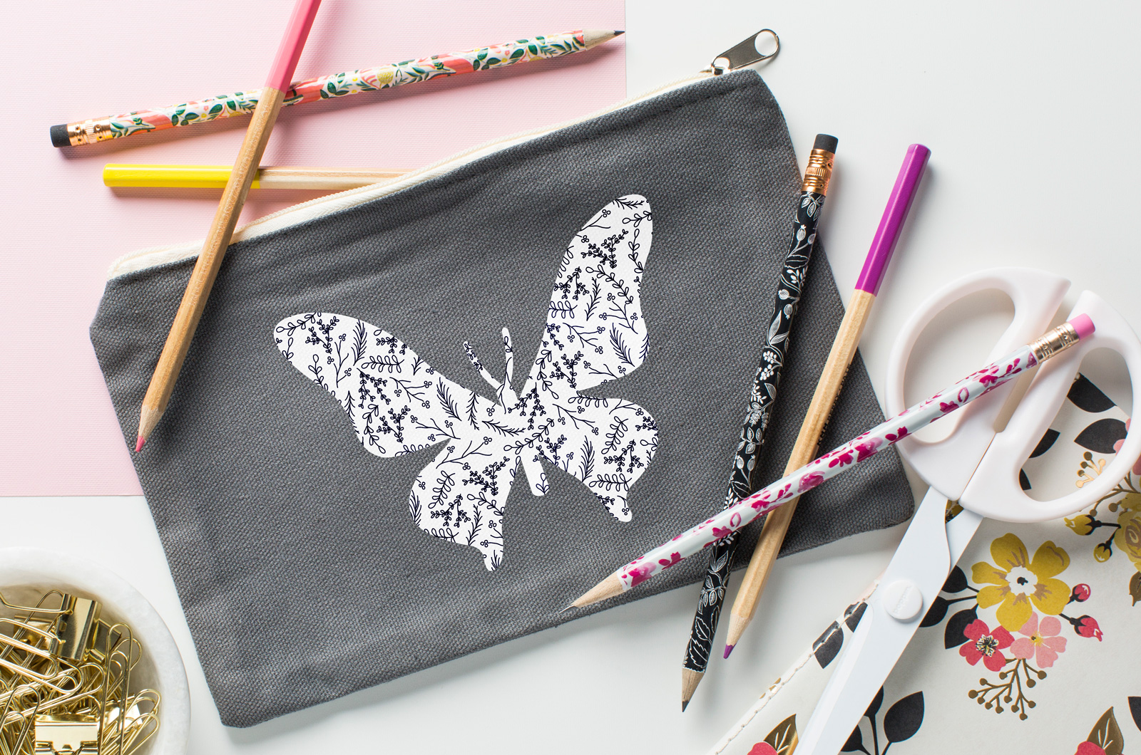 butterfly pencil bag