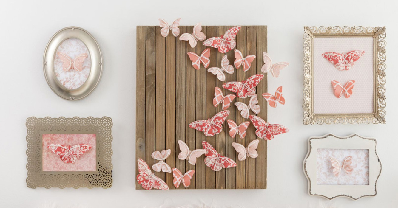 butterfly collage on wood panels