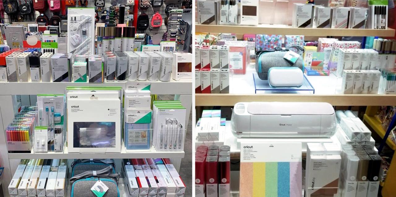 Cricut products on display in Virgin Megastore aisle