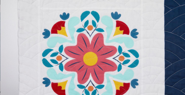 Norway folk art on quilt block